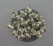 20 BLACK SMOKY CZECH FIRE CRYSTAL FACETED BEADS 6MM
