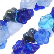 """Czech Glass Flower Drops """"Blue Tones"""" Colour Mix 7mm"""