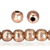 Rose Gold Plated Copper Bead Brushed Round Approx. 3mm Approx. 8 inch