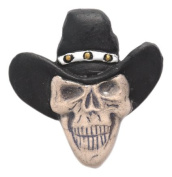 Shipwreck Beads 33 by 35mm Peruvian Hand Crafted Ceramic Skull Beads with Cowboy Hat , Black, 3 per Pack