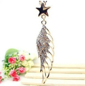Gold Plated Crystal Lovely Bling Angel's Wing With Star Long Necklace / Sweater Chain--(With Cutely Gift Box)-----. From USA--takes 2-6 working days with shelley.kz INC-------