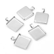 5 X Silver Plated Square Pendant Bezel Tray Base Cameo Cabochon Setting