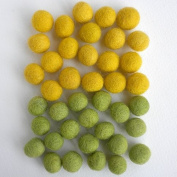 Felted Wool Bead 40 Piece Colour Packs- Green & Yellow Mix