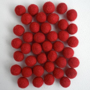 Felted Wool Bead 40 Piece Colour Packs- 40 Red