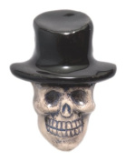 Shipwreck Beads 20 by 27mm Peruvian Hand Crafted Ceramic Skull Top Hat Beads , Black, 3 per Pack