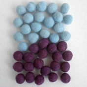 Felted Wool Bead 40 Piece Colour Packs- Violet & Turquoise