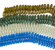 160 Czech Glass Dagger Drop Beads 3x11mm 4 Colour Mix Grey Blue Opaque and Picasso