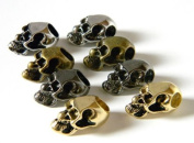 8 Metal Skull Beads (Chrome/Gold/Bronze/Black) For 550 Paracord Bracelets, Lanyards, & Other Projects