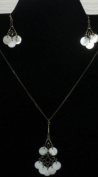 Mother of Pearl Disc Necklace and Earring Set