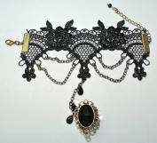 Black Gothic Goth Lolita Vampire Tassels Lace Bracelet Ring