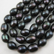 Freshwater Pearls Beads 7-8mm Rice Shape Black Colour