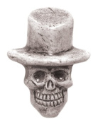 Shipwreck Beads 20 by 27mm Peruvian Hand Crafted Ceramic Skull Top Hat Beads , Grey, 3 per Pack