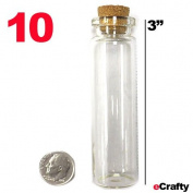 "Medium Glass Bottles with Cork Top 3"" 72mm 10pk Favours Weddings Crafts Storage"