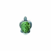 Shipwreck Peruvian Hand Crafted Ceramic Sea Turtle Beads, 16 by 21mm, Green, 3 Per Pack