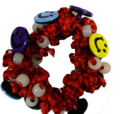 Hair Scrunchy UV Colour Changing! Red with Happy Faces!