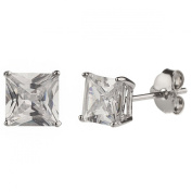 New 925 Sterling Silver Cz Square Princess Cut Stud Earrings-8mm