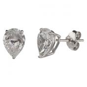 New 925 Sterling Silver Cz Pear Cut Stud Earrings-8mm