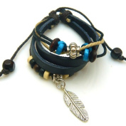 Maple Leaf Design Leather Bracelet with Attractive Wooden Beads