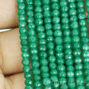 "1 Strand Green Onyx Micro Faceted Rondel 3-4mm 14"" Length Aaamazing Quality 100 Percent Natural.(rlgo-70002)GemMartUsa Gemstone"