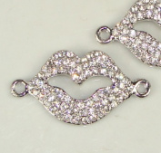 Rhinestone Lips Bracelet Bar Pave Silver W/crystal 2 Pcs 38x20mm