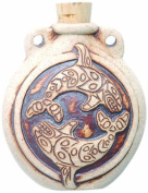 Peruvian Hand Crafted Ceramic High Fire Orca Bottle Pendant, 40 by 48mm