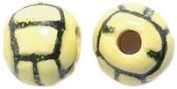 Shipwreck Peruvian Hand Crafted Ceramic Mini Polo Ball Beads, 8mm, Yellow, 8 Per Pack