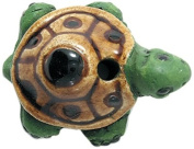 Shipwreck Beads 19 by 29mm Peruvian Hand Crafted Large Ceramic Turtle Beads, Green, 3 per Pack