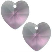 2 Light Amethyst. Crystal Heart Pendant 14mm