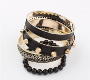 Black Punk Rivet Multi Layers Bracelet Rock Jewerly Fit Girl Club Wear ,100246