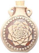 Peruvian Hand Crafted Ceramic High Fire Lotus Bottle Pendant, 49mm