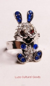 Luos Beautiful lucky Rabbit Steriling Silver Ring with Blue Crystal - Sr013