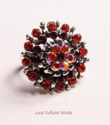 LUOS beautiful Silver Metal Ring with Red Gems - SR001