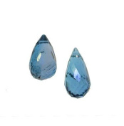 London Blue Topaz Drop Micro Faceted Briolette Beads Pair 8mm