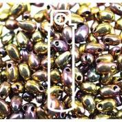 Metallic Gold Violet 3x5.5mm Long Drop Miyuki Japanese Glass Seed Beads 25 Gramme Tube