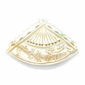 Shipwreck Beads Shell Fan Pendants, 38 by 60mm Average, Cream