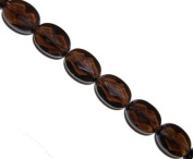 Smoky quartz faceted oval gemstone beads, 18x13mm, sold per 16-inch strand..