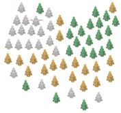 Christmas Trees Xmas Pine Tree Pony Crow Beads Silver Green Gold Glitter Sparkle pk/60