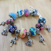 BSI - European Style Charm Bracelet with Twist End, Clay Beads, and Christmas Decoration Charms ~ Holiday Gift