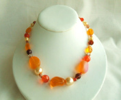 Orange Glass One Strand Beads Necklace with Extension
