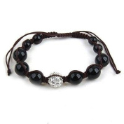 Shamballa Hip Hop Style Eight Black Onyx Beads, and 1 Crystal White Disco Ball