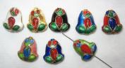 80 13x16mm Handmade Frog Mix Cloisonne Beads