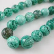Green Crackle Agate Beads - Facted Round 10mm