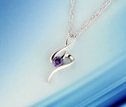Sliver Plated-925 Sterling Silver Lovely Bling Fashion Purple Cubic Zirconia Music note Necklace / Chain--(With Cutely Gift Box)-----. From USA--takes 2-6 working days with shelley.kz INC--------(1 pcs only)------