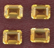 Two 8mm x 6mm 8x6 Emerald Cut Golden Citrine Gem Stone Gemstone
