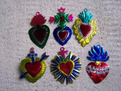 Lot of 6 Different Tin Painted Sacred Hearts Ornaments - Mexico