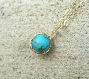 14k Gold Filled Cable Chain Necklace Turquoise Pendant 46cm