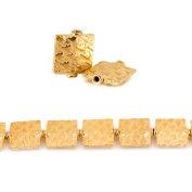 12mm 22kt Gold Plated Copper Tree Embossed Square Beads, 8 inch, 15 beads