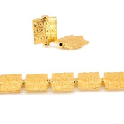 12mm 22kt Gold Plated Copper Geometric Embossed Square Beads, 8 inch