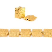 12mm 22kt Gold Plated Copper `3` Embossed Square Beads (Health, Wealth, Happiness), 8 inch