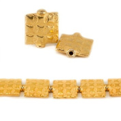 12mm 22kt Gold Plated Copper Square Embossed Square Beads, 8 inch